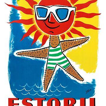 Estoril Portugal Vintage Poster Restored by vintagetreasure