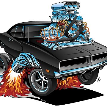 Classic 69 American Muscle Car Cartoon by hobrath
