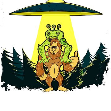 Alien Abduction T-Shirt Funny Bigfoot Sasquatch Gift by BlueBerry-Pengu