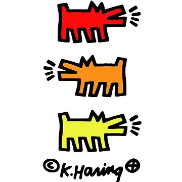 KEITH HARING´S DOG POP ART (RED/ORANGE/YELLOW) (V2) by SUNSET-STORE