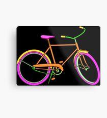 Neon Bike with Pink Metal Print