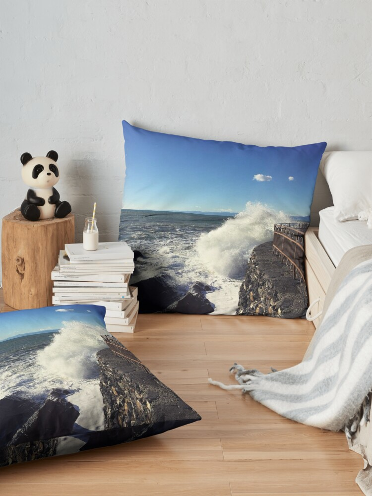 Alternate view of Foto onde mare Genoa - Photo waves sea Genoa Floor Pillow