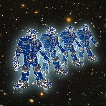 Blue Robots Standing in Line by ZipaC