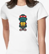 Red Renaissance Turtle Womens Fitted T-Shirt