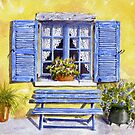 Blue shutters and bench by FranEvans