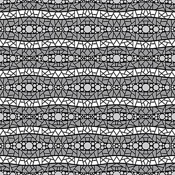 Mosaic Wavy Stripes in Grays and White on Black by MelFischer