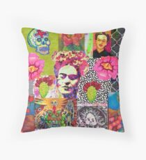 Frida Kahlo and Mexico Collage Pattern Throw Pillow