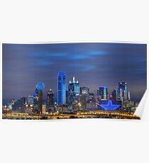 Dallas Star Skyline Poster