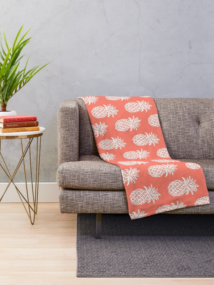 Alternate view of Living coral, Summer White Pineapple Throw Blanket