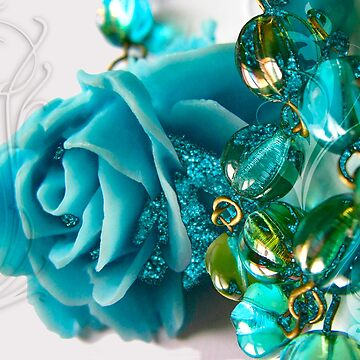 Sleeping Beauty Blue Rose Fantasy Jewelry Art by Glimmersmith
