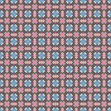 Blue And Pink Checkered Pattern by perkinsdesigns