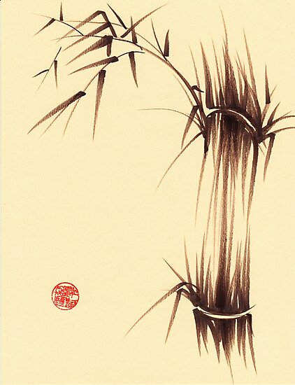 'Genmai Cha' - brush pen bamboo painting by Rebecca Rees