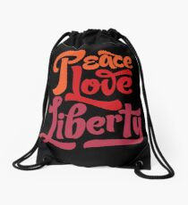 Peace Love Liberty Drawstring Bag