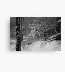 High Street Snow Scene Canvas Print