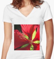Hibiscus Women's Fitted V-Neck T-Shirt