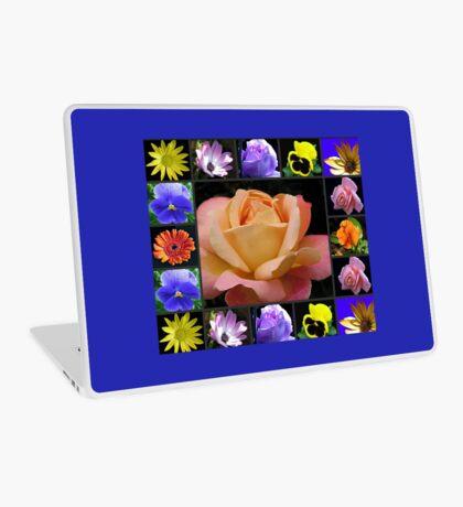 Sommer-Blumen-Collage, die Rose kennzeichnet Laptop Skin
