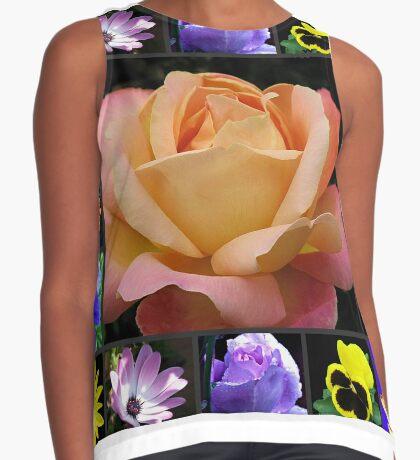 Sommer-Blumen-Collage, die Rose kennzeichnet Ärmelloses Top