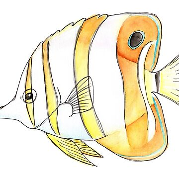 Copperband butterflyfish in watercolor by narwhalwall
