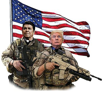Presidential Soldiers: Ronald Reagan & Donald Trump USA Flag by tronictees