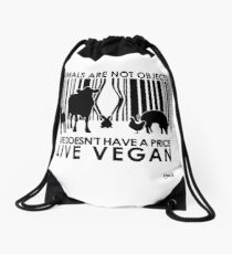 VeganChic ~ Animals Are Not Objects Drawstring Bag