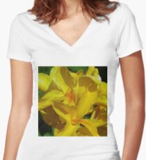 Canna Lily - yellow Women's Fitted V-Neck T-Shirt