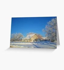 White Barn Winter Painting Greeting Card