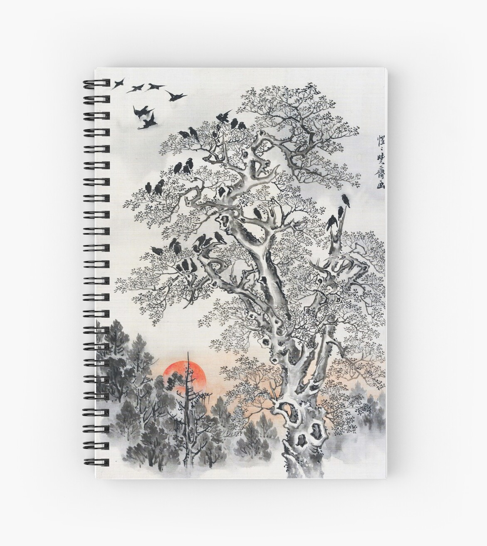 Herde von Krähen im Morgengrauen (Restauriertes japanisches Kunstwerk) von PromoteProgress