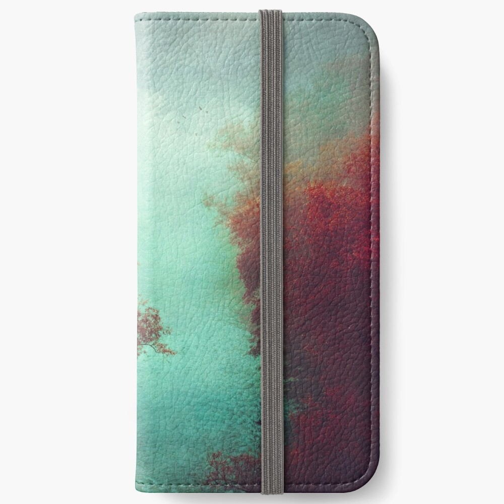 Copper Trees and Teal River on a misty morning iPhone Wallet