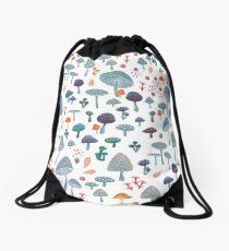 scattered mushroom pattern Drawstring Bag