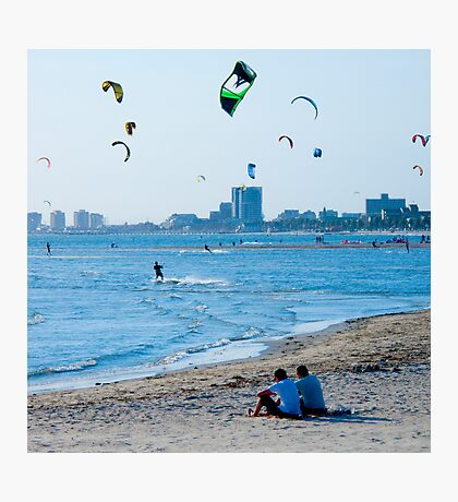 Kite Surfers take over the sky of Melbourne #2 Photographic Print