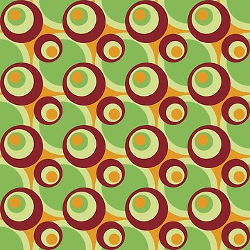 Cool retro cross-eyed circles green, red, gamboge by aapshop