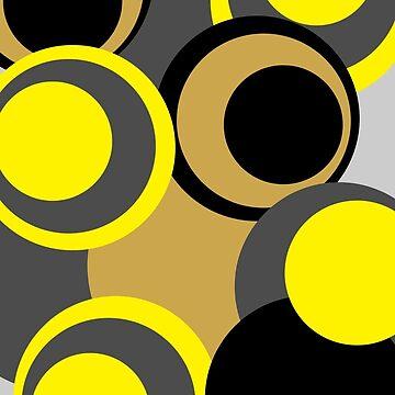 Retro big modern colorful circles black yellow grey pattern by aapshop