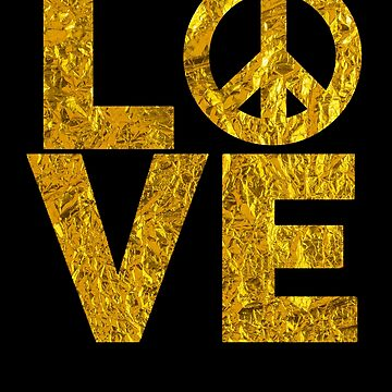 Peace & Love Vintage Crumpled Gold Effect by LarkDesigns
