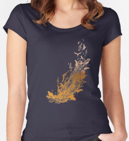 Goldene Feder mit Vögeln und Musiknoten Tailliertes Rundhals-Shirt