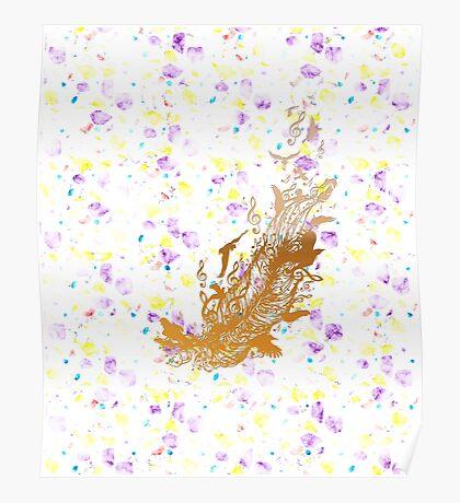 Goldene Feder mit Vögeln und Musiknoten Poster