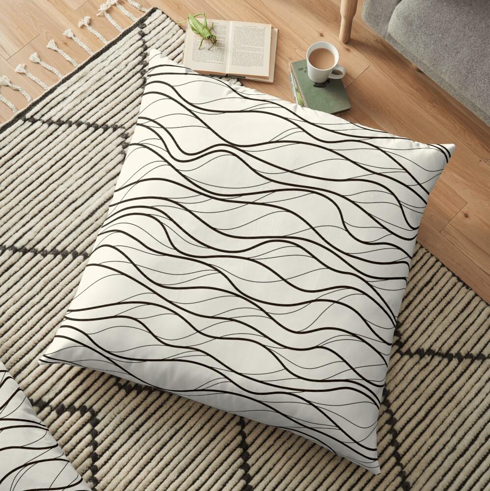 Wavy Stripes Pattern Light Floor Pillow