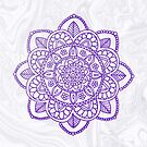 Purple Mandala on White Marble by julieerindesign