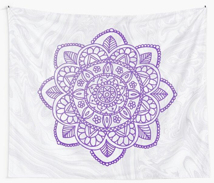 Purple Mandala on White Marble by julieerindesign