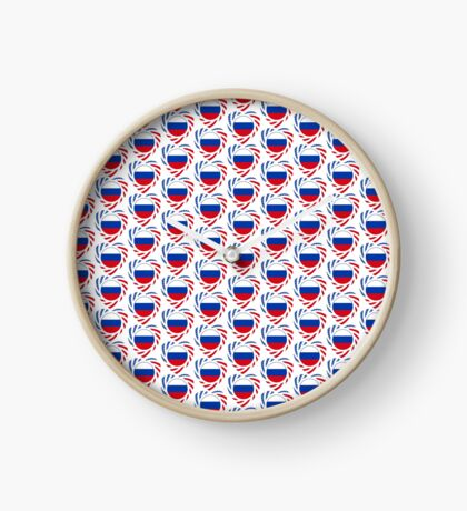 Russian American Multinational Patriot Flag Series 2.0 Clock