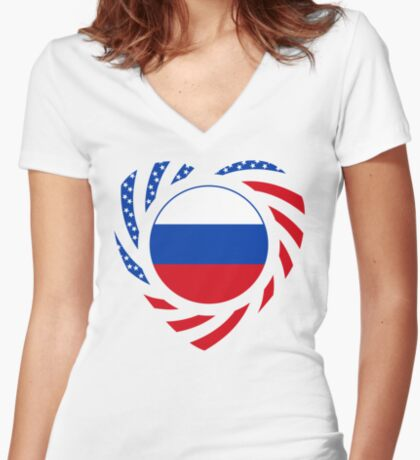Russian American Multinational Patriot Flag Series 2.0 Fitted V-Neck T-Shirt