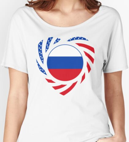 Russian American Multinational Patriot Flag Series 2.0 Relaxed Fit T-Shirt