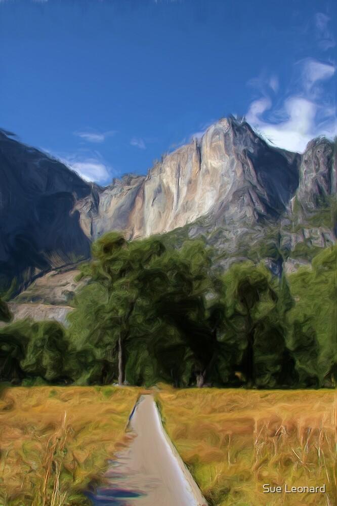 Yosemite Falls, California as pseudo oil painting by Sue Leonard