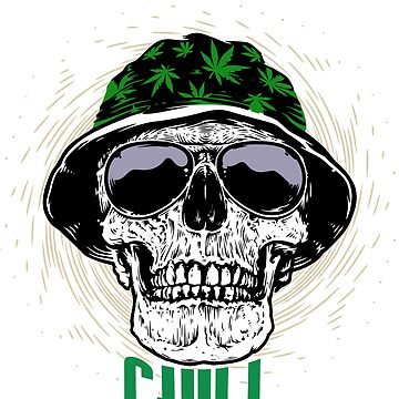 Cool skull with cannabis by schnibschnab