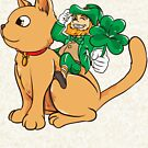 Cute Leprechaun Riding a Cat St. Patrick's Day by perfectpresents