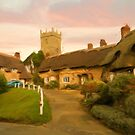 Thatched hamlet as pseudo oil painting by Sue Leonard
