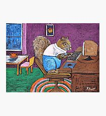 Squirrels on Computers Photographic Print