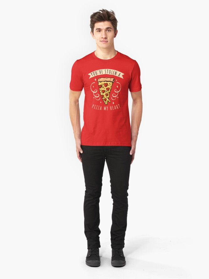 Alternate view of Stolen Pizza My Heart Funny Valentines Day Quotes Gift Slim Fit T-Shirt