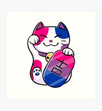 Lucky Cat Purride - Bisexual Pride Art Print