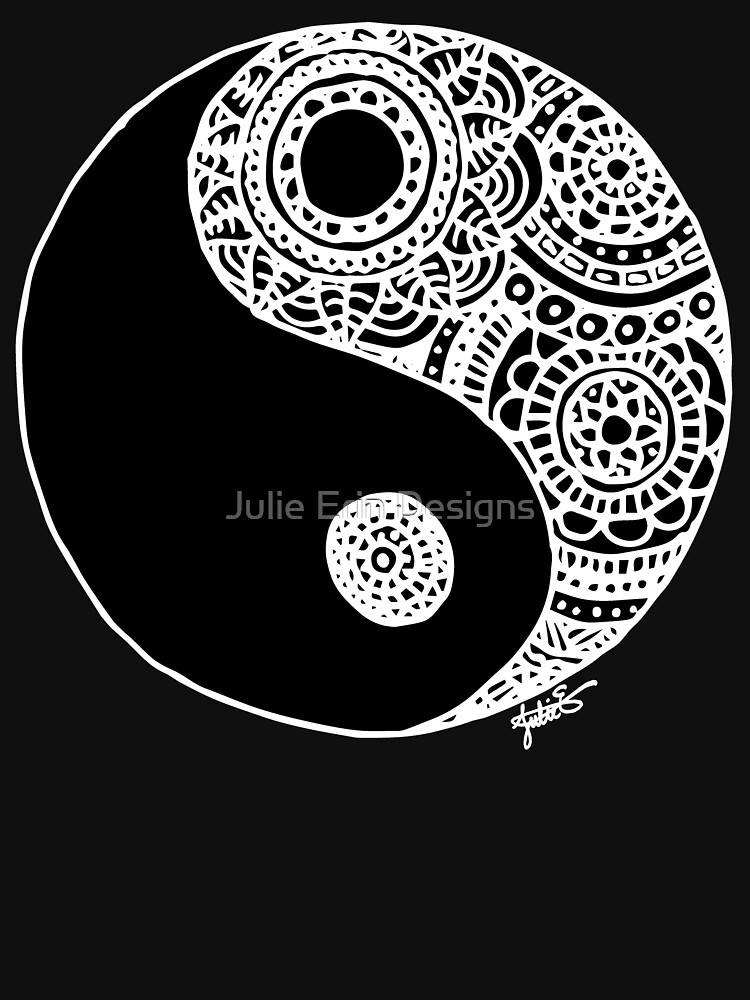 Black and White Lace Yin Yang by julieerindesign