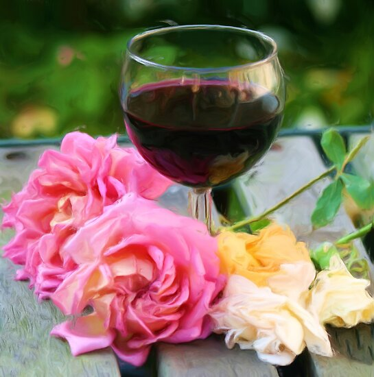 Wine glass with roses as pseudo painting by Sue Leonard